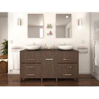Meuble Sous Vasque - Meuble Vasque Integree - Plan De Toilette ERA Ensemble double vasque 150 cm bois legno sombre