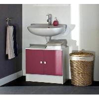 Meuble Sous Vasque - Meuble Vasque Integree - Plan De Toilette GALET Meuble sous lavabo 60cm blanc fuchsia