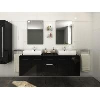 Meuble Sous Vasque - Meuble Vasque Integree - Plan De Toilette OLGA Ensemble double vasque 150 cm laque noir