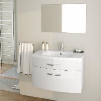 Meuble Sous Vasque - Meuble Vasque Integree - Plan De Toilette PACOME Ensemble salle de bain simple vasque L 80 cm - Laque blanc brillant