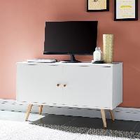 Meuble Tv - Hi-fi ANNETTE Meuble TV scandinave decor blanc + pieds en bois massif - L 90 cm