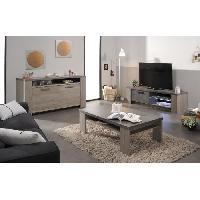 Meuble Tv - Hi-fi CLAY Meuble TV avec LED contemporain decor chene argile et beton fonce - L 151 cm
