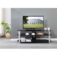 Meuble Tv - Hi-fi EDEN Meuble TV 3 etagere en verre tempe Noir - L 120 x P 45 x H 42.5 cm