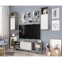 Meuble Tv - Hi-fi Ensemble Meuble TV SVEN scandinave blanc mat et decor chene brillant - L 160 cm