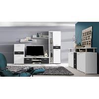 Meuble Tv - Hi-fi Ensemble salon 2 pieces - Noir et blanc