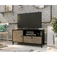 Meuble Tv - Hi-fi FINLANDEK Meuble TV JONES - Industriel - Noir mat et decor chene - L 110 cm