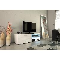 Meuble Tv - Hi-fi KORA Meuble TV 120cm avec eclairage LED - Blanc brillant