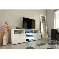 Meuble Tv - Hi-fi KORA Meuble TV 150cm avec eclairage LED - Blanc brillant