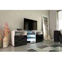 Meuble Tv - Hi-fi KORA Meuble TV 150cm avec eclairage LED - Noir brillant