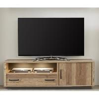 Meuble Tv - Hi-fi LODGE Meuble TV bas - Industriel - Decor epicea - L 161 cm