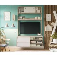 Meuble Tv - Hi-fi Meuble TV HANNAH scandinave couleurs chene et blanc - L 110 cm