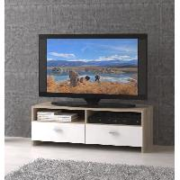 Meuble Tv - Hi-fi Meuble TV HELPPO 95cm blanc et decor chene