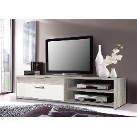 Meuble Tv - Hi-fi Meuble TV KATSO 120cm decor chene cendre et blanc brillant