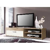 Meuble Tv - Hi-fi Meuble TV KATSO 120cm decor chene sonoma et blanc brillant