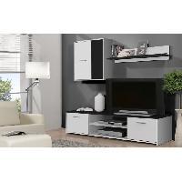 Meuble Tv - Hi-fi Meuble TV mural KATSO 160cm blanc et noir