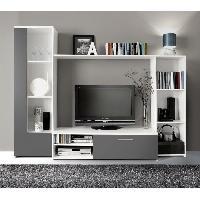 Meuble Tv - Hi-fi Meuble TV mural PILVI 220cm blanc et gris