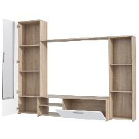 Meuble Tv - Hi-fi Meuble TV mural PILVI contemporain decor chene sonoma et blanc mat - L 220.4 cm