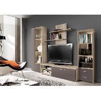 Meuble Tv - Hi-fi Meuble TV mural PYSYA 230 cm - Decor chene sonoma et taupe mat