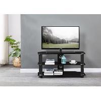 Meuble Tv - Hi-fi NATHAN Meuble TV en verre trempe Noir - L 90 x P 40 x H 45 cm