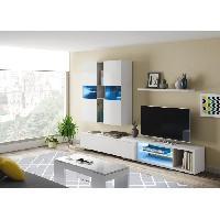 Meuble Tv - Hi-fi NOON Meuble TV LED - Decor Ciment et blanc brillant - L 154 x P 41 x H 240 cm