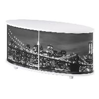 Meuble Tv - Hi-fi PRINT Meuble TV contemporain imprime New York et blanc mat - L 110 cm