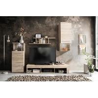 Meuble Tv - Hi-fi PUNCH Meuble TV avec eclairage - Decor chene - L 228 cm