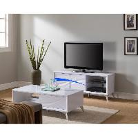 Meuble Tv - Hi-fi SPACE Meuble TV contemporain blanc brillant - L 141 cm