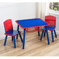 Meubles Bebe Table enfant et 2 chaises Bleu et rouge