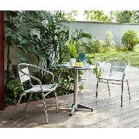 Meubles D'exterieur - De Jardin AJACCIO Ensemble bistrot ronde en acier et MDF + 2 fauteuils en aluminium - Ø 60 x 70 cm Aucune