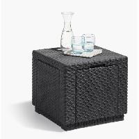 Meubles D'exterieur - De Jardin ALLIBERT JARDIN Table cube imitation rotin tresse avec rangement de 60 l - 42x42x39 cm - Graphite