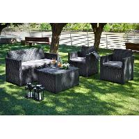 Meubles D'exterieur - De Jardin ALLIBERT Salon de jardin MERANO 4 places - avec table-coffre - imitation résine tressée - Gris