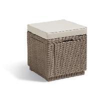 Meubles D'exterieur - De Jardin ALLIBERT  Table-coffre avec coussin - imitation résine tressée cappuccino Allibert Jardin