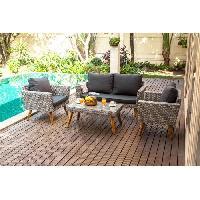 Meubles D'exterieur - De Jardin ALMA Salon de jardin en résine tressée 4 places - un canapé et deux fauteuils avec une table basse Aucune