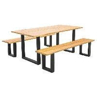 Meubles D'exterieur - De Jardin ANGLET Ensemble table de 6 personnes en acacia lamine et 2 bancs - 180 x 85 x 76 cm Aucune