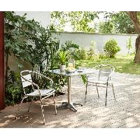 Meubles D'exterieur - De Jardin BASTIA Ensemble bistrot carree en acier et MDF + 2 fauteuils en aluminium - 70 x 70 x 70 cm Aucune