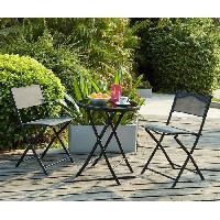 Meubles D'exterieur - De Jardin BEAU RIVAGE Ensemble de jardin 2 places en acier et textilene - gris