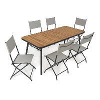Meubles D'exterieur - De Jardin BOCARNEA Ensemble repas de jardin Babor table plateau acacia avec pieds pliables 176 x 80 cm + 6 Chaises pliables acier et textilene Aucune