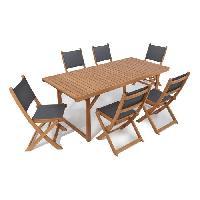 Meubles D'exterieur - De Jardin BOCARNEA Ensemble repas de jardin Charly - Table eucalyptus avec pieds pliables 190 x 90 cm + 6 chaises pliables bois et textilene Aucune
