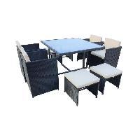 Meubles D'exterieur - De Jardin CARIOCA2 Ensemble repas de jardin - table 110x110cm plateau en verre + 4 fauteuils et 4 poufs en resine tressee - Noir Aucune