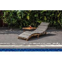 Meubles D'exterieur - De Jardin Chaise longue courbée pliable en bois d'acacia KOS - Matelas gris anthracite