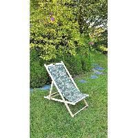 Meubles D'exterieur - De Jardin Chilienne en hetre massif - Toile imprime Havanas - 58 x 95 x 87 cm - Aucune