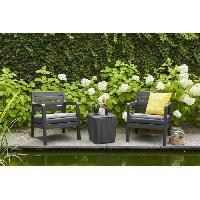 Meubles D'exterieur - De Jardin DELANO Ensemble de balcon 2 places avec coussins assises - 2 fauteuils et une table basse - Imitation bois - Graphite Allibert Jardin