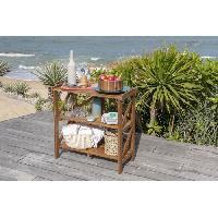 Meubles D'exterieur - De Jardin Desserte de service pliante en acacia avec plateau - 40x82x84 cm - Marron Aucune