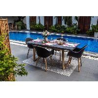 Meubles D'exterieur - De Jardin Ensemble de mobilier de jardin - 4 places - 1 table rectangulaire et 4 fauteuils - Fibre de ciment et acacia - Gris Clair Aucune
