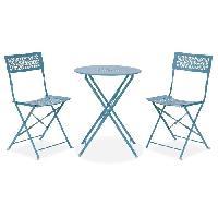 Meubles D'exterieur - De Jardin Ensemble repas de jardin - Set bistrot table avec 2 chaises - O 60 x 70 cm - Bleu Aucune