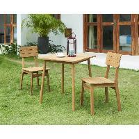 Meubles D'exterieur - De Jardin Ensemble repas de jardin - table 70x70cm et 2 chaises - En acacia FSC Aucune