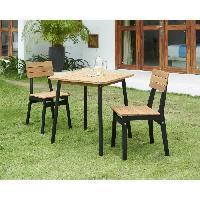 Meubles D'exterieur - De Jardin Ensemble repas de jardin - table 70x70cm et 2 chaises - structure peinte en noire - En acacia FSC Aucune
