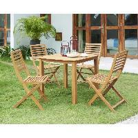 Meubles D'exterieur - De Jardin Ensemble repas de jardin - table 90x90cm plateau arrondi et 4 chaises pliantes- Eucalyptus FSC Aucune