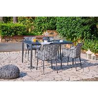 Meubles D'exterieur - De Jardin Ensemble repas de jardin - table de jardin 150 cm en aluminium et 4 fauteuils resine grosse maille - Gris Aucune