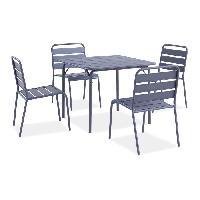 Meubles D'exterieur - De Jardin Ensemble repas de jardin - table de jardin 90 cm en acier et 4 fauteuils - Gris anthracite Aucune